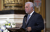 Quebec Premier Philippe Couillard speaks during the funeral of Paul Gerin-Lajoie in Montreal, Thursday, August 9, 2018. THE CANADIAN PRESS/Graham Hughes