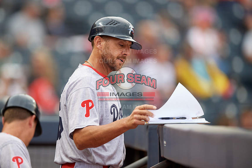 Reading Fightin Phils coach Nelson Prada (16) during an Eastern League game against the Akron RubberDucks on June 4, 2019 at Canal Park in Akron, Ohio.  Akron defeated Reading 8-5.  (Mike Janes/Four Seam Images)