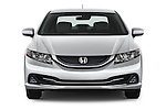Car photography straight front view of a 2014 Honda Civic Hybrid Hybrid CVT 4 Door Sedan Front View