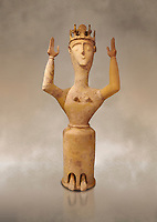 Minoan Postpalatial terracotta  goddess statue with raised arms and crown,  Karphi Sanctuary 1200-1100 BC, Heraklion Archaeological Museum. <br /> <br /> The Goddesses are crowned with symbols of earth and sky in the shapes of snakes and birds, describing attributes of the goddess as protector of nature.