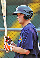 21 August 2010: Brooklyn Cyclones infielder Joe Bonfe awaits his turn in the batting cage prior to a game against the Vermont Lake Monsters at Centennial Field in Burlington, Vermont. The Cyclones defeated the Lake Monsters 8-7 in a 12-inning game that had to be resumed in Brooklyn on August 31 due to late inning rain. Mandatory Credit: Ed Wolfstein Photo