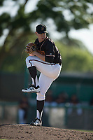 Modesto Nuts relief pitcher Jack Anderson (27) prepares to deliver a pitch during a California League game against the San Jose Giants at John Thurman Field on May 9, 2018 in Modesto, California. San Jose defeated Modesto 9-5. (Zachary Lucy/Four Seam Images)