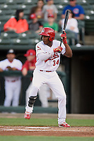 Peoria Chiefs center fielder Magneuris Sierra (34) squares to bunt during a game against the Dayton Dragons on May 6, 2016 at Dozer Park in Peoria, Illinois.  Peoria defeated Dayton 5-0.  (Mike Janes/Four Seam Images)