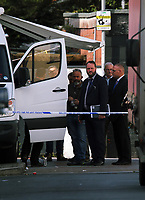 Pictured: Police officers in civilian clothes inside the cordon at Jeffrey Street, Newport, south Wales, UK. Wednesday 20 September 2017<br /> Re: Two men have been arrested in south Wales over Friday's terror attack on a London Underground train, bringing the total number held to five.<br /> Two men, one 48 and the other 30 were detained under the Terrorism Act in the early hours, after a search at an address in Newport.<br /> Police are still searching there, and at a second address in Newport.<br /> Thirty people were injured when a homemade bomb partially exploded on a rush-hour Tube train at Parsons Green in south-west London.