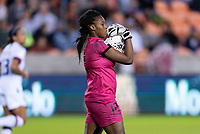 HOUSTON, TX - JANUARY 28: Kerly Theus #12 of Haiti holds the ball during a game between Haiti and USWNT at BBVA Stadium on January 28, 2020 in Houston, Texas.