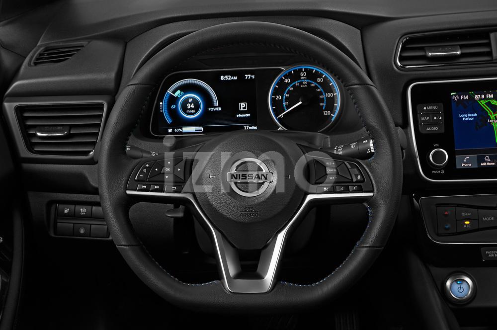 Car pictures of steering wheel view of a 2020 Nissan Leaf SV 5 Door Hatchback Steering Wheel