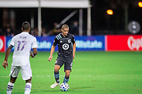LAKE BUENA VISTA, FL - AUGUST 06: Osvaldo Alonso #6 of Minnesota United FC dribbles the ball during a game between Orlando City SC and Minnesota United FC at ESPN Wide World of Sports on August 06, 2020 in Lake Buena Vista, Florida.