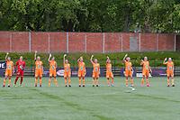 team Gent ( Silke Vanwynsberghe (21) , goalkeeper Nicky Evrard (1) , Ella Van Kerkhoven (3) , Heleen Jaques (4) , Emma Van Britsom (6) , Chloe Vande Velde (10) , Jasmien Mathys (12) , Lyndsey Van Belle (14) , Lore Jacobs (17) , Lobke Loonen (19) , Feli Delacauw (44) ) pictured during a female soccer game between RSC Anderlecht Dames and AA Gent Ladies on the fifth matchday of play off 1 of the 2020 - 2021 season of Belgian Womens Super League , saturday 8 th of May 2021  in Brussels , Belgium . PHOTO SPORTPIX.BE | SPP | STIJN AUDOOREN