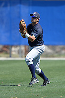 Outfielder Mike O'Neill (14) of the New York Yankees organization during practice before a minor league spring training game against the Toronto Blue Jays on March 16, 2014 at the Englebert Minor League Complex in Dunedin, Florida.  (Mike Janes/Four Seam Images)