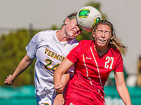 29 September 2013: Stony Brook University Seawolves Defender Christina Fluman, a Freshman from Pittsford, NY, battles a header with University of Vermont Catamount Defender Sierra Rhoads, a Freshman from La Crescenta, CA, during game action at Virtue Field in Burlington, Vermont. The Lady Seawolves defeated the Catamounts 2-1 in America East play. Mandatory Credit: Ed Wolfstein Photo *** RAW (NEF) Image File Available ***