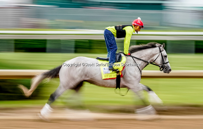 April 28, 2021: Soup and Sandwich, trained by trainer Mark Casse, exercises in preparation for the Kentucky Derby at Churchill Downs on April 29, 2021 in Louisville, Kentucky. Scott Serio/Eclipse Sportswire/CSM