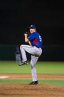 AZL Rangers starting pitcher Hans Crouse (55) delivers a pitch to the plate against the AZL Giants on September 4, 2017 at Scottsdale Stadium in Scottsdale, Arizona. AZL Giants defeated the AZL Rangers 6-5 to advance to the Arizona League Championship Series. (Zachary Lucy/Four Seam Images)