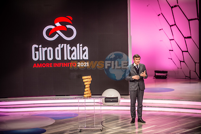 Paolo Bellino, CEO and General Manager of RCS Sport at the presentation of the 2021 Giro d'Italia Route in the Rai Studios in Corso Sempione, Milan, Italy. 23rd February 2021.  <br /> Picture: LaPresse/Claudio Furlan | Cyclefile<br /> <br /> All photos usage must carry mandatory copyright credit (© Cyclefile | LaPresse/Claudio Furlan)