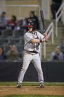 Greg Cullen (18) of the Rome Braves at bat against the Kannapolis Intimidators at Kannapolis Intimidators Stadium on April 4, 2019 in Kannapolis, North Carolina.  The Braves defeated the Intimidators 9-1. (Brian Westerholt/Four Seam Images)