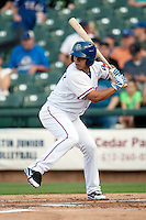 Round Rock Express shortstop Luis Hernandez #9 at bat during the Pacific Coast League baseball game against the New Orleans Zephyrs on April 30, 2012 at The Dell Diamond in Round Rock, Texas. The Zephyrs defeated the Express 5-3. (Andrew Woolley / Four Seam Images)
