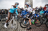 Benoit Cosnefroy (FRA/AG2R-La Mondiale) congratulating fresh 2020 World Champion Julian Alaphilippe (FRA/Deceuninck-QuickStep) at the start in his very first race in the Rainbow Jersey<br /> <br /> 106th Liège-Bastogne-Liège 2020 (1.UWT)<br /> 1 day race from Liège to Liège (257km)<br /> <br /> ©kramon