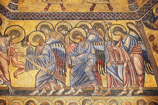 The Medieval mosaics of the ceiling of The Baptistry of Florence Duomo ( Battistero di San Giovanni ) showing Angels,  started in 1225 by Venetian craftsmen in a Byzantine style and completed in the 14th century. Florence Italy