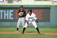 Anyesber Sivira (40) of the Augusta GreenJackets takes his lead off of second base against the Kannapolis Intimidators at SRG Park on July 6, 2019 in North Augusta, South Carolina. The Intimidators defeated the GreenJackets 9-5. (Brian Westerholt/Four Seam Images)