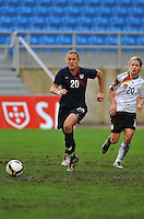 Abby Wambach charges forward. The USA captured the 2010 Algarve Cup title by defeating Germany 3-2, at Estadio Algarve on March 3, 2010.