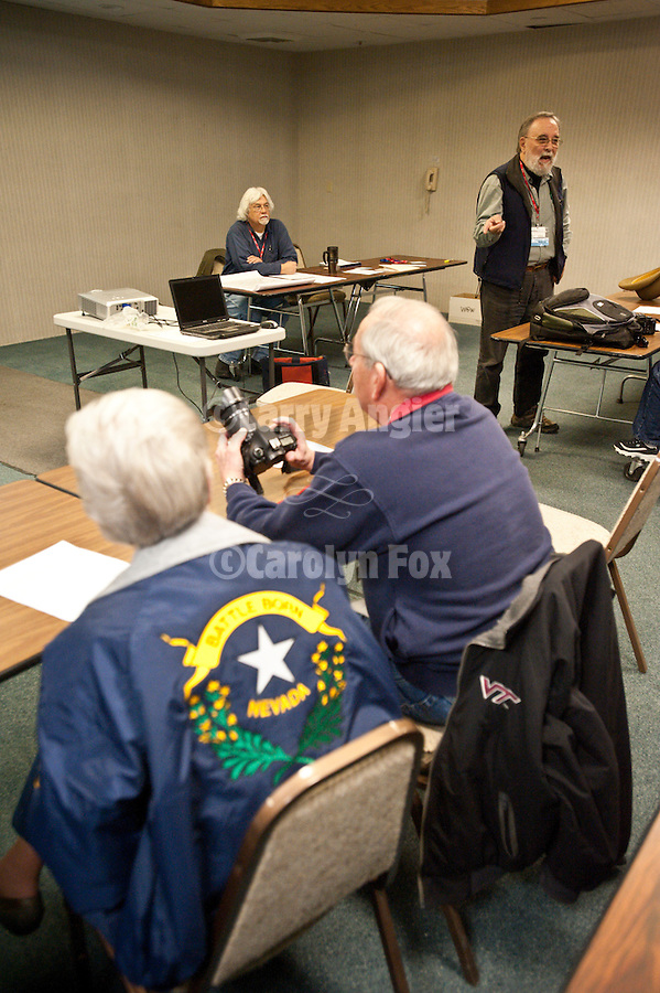 """Sam Hipkins and BIll Simms brief the participants of """"Winnemucca at Work"""" during Shooting the West XXIII photo symposium, Winnemucca, Nev. """"The Nevada Photography Experience"""""""