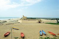 INDIA Tranquebar, in 18th century a former danish trading post in Tamil Nadu, old danish Fort Danesborg / INDIEN Tranquebar, war eine ehemalige daenische Handelsniederlassung im 18. Jh., altes Fort und Museum, Danesborg