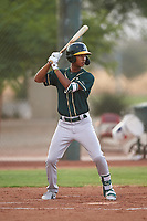 AZL Athletics Green Jalen Greer (4) at bat during an Arizona League game against the AZL Reds on July 21, 2019 at the Cincinnati Reds Spring Training Complex in Goodyear, Arizona. The AZL Reds defeated the AZL Athletics Green 8-6. (Zachary Lucy/Four Seam Images)