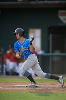 Akron RubberDucks shortstop Ernie Clement (2) follows through on a swing during a game against the Harrisburg Senators on August 18, 2018 at FNB Field in Harrisburg, Pennsylvania.  Akron defeated Harrisburg 5-1.  (Mike Janes/Four Seam Images)