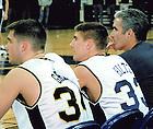 John Hiltz playing for the Notre Dame Men's Basketball team, 1999-2000.<br /> <br /> Photo provided by Dan Hiltz