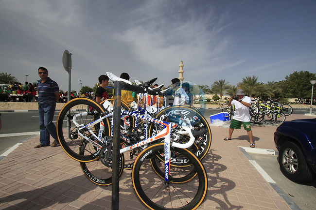 Rabobank Giant bikes lined up before the start of the 3rd Stage of the 2012 Tour of Qatar running 146.5km from Dukhan Souq, Dukhan to Al Gharafa, Qatar. 7th February 2012.<br /> (Photo Eoin Clarke/Newsfile)