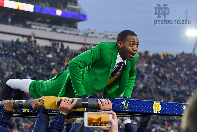 November 23, 2019; Leprechaun Samuel Jackson does pushups following a Notre Dame touchdown against Boston College. (Photo by Matt Cashore)