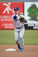 Trace Loehr (3) of the Stockton Ports throws to first base during a game against the Inland Empire 66ers at San Manuel Stadium on May 26, 2019 in San Bernardino, California. (Larry Goren/Four Seam Images)