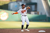 Fresno Grizzlies second baseman Tony Kemp (5) during a Pacific Coast League game against the Salt Lake Bees at Chukchansi Park on May 14, 2018 in Fresno, California. Fresno defeated Salt Lake 4-3. (Zachary Lucy/Four Seam Images)