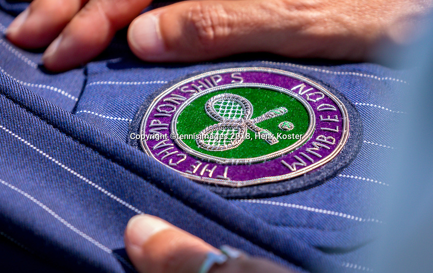 London, England, 3 th. July, 2018, Tennis,  Wimbledon, Wimbledon logo on jacket<br /> Photo: Henk Koster/tennisimages.com