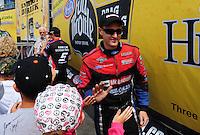 May 20, 2012; Topeka, KS, USA: NHRA funny car driver Bob Tasca III during the Summer Nationals at Heartland Park Topeka. Mandatory Credit: Mark J. Rebilas-