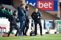 Mark Molesley, Manager, Southend United offers an opinion to the fourth official during Southend United vs Exeter City, Sky Bet EFL League 2 Football at Roots Hall on 10th October 2020
