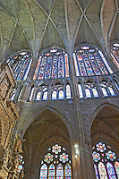 stained glass windows  cathedral santa maria de regla , Leon spain castile and leon