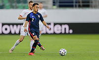 ST. GALLEN, SWITZERLAND - MAY 30: Sergino Dest #2 of the United States passes off the ball during a game between Switzerland and USMNT at Kybunpark on May 30, 2021 in St. Gallen, Switzerland.