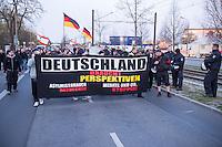 """Ca. 50 Neonazis der NPD, der Neonazi-Partei """"Die Rechte"""" und Hooligans protestierten am 20. April 2015 in Berlin Marzahn-Hellersdorf gegen eine geplante Fluechtlingsunterkunft. Die Neonazis wollten ein """"Geburtstagsstaendchen"""" anlaesslich des Hitlergeburtstages (20. April) singen, dies wurde ihnen von der Polizei jedoch untersagt.<br /> 20.4.2015, Berlin<br /> Copyright: Christian-Ditsch.de<br /> [Inhaltsveraendernde Manipulation des Fotos nur nach ausdruecklicher Genehmigung des Fotografen. Vereinbarungen ueber Abtretung von Persoenlichkeitsrechten/Model Release der abgebildeten Person/Personen liegen nicht vor. NO MODEL RELEASE! Nur fuer Redaktionelle Zwecke. Don't publish without copyright Christian-Ditsch.de, Veroeffentlichung nur mit Fotografennennung, sowie gegen Honorar, MwSt. und Beleg. Konto: I N G - D i B a, IBAN DE58500105175400192269, BIC INGDDEFFXXX, Kontakt: post@christian-ditsch.de<br /> Bei der Bearbeitung der Dateiinformationen darf die Urheberkennzeichnung in den EXIF- und  IPTC-Daten nicht entfernt werden, diese sind in digitalen Medien nach §95c UrhG rechtlich geschuetzt. Der Urhebervermerk wird gemaess §13 UrhG verlangt.]"""