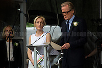 (From L to R) Gillian Anderson (American-British film, television and theatre actress, activist and writer) & Bill Nighy (British film, television and theatre actor). <br /> <br /> London, 22/06/2016. Today, thousands of people gathered in Trafalgar Square to celebrate the life Jo Cox, the Labour Member of Parliament who was brutally killed by the far-right extremist Thomas Mair on the 16th of June 2016. From the organisers Facebook page: <<[…] We will gather together in Trafalgar Square to celebrate Jo's warmth, love, energy, passion, flair, Yorkshire heritage, and belief in the humanity of every person in every place, from Batley and Spen to Aleppo and Darayya. Jo believed that there is more that unites us than divides us, and she was killed for those beliefs. She believed in a love that is fierce, brave and humble. Her death has devastated a family, and attacked the ideals that we as a nation most cherish. But we will not be divided. We will rise up together to carry Jo's message forward. We will meet hate with love. On the day Jo would have been 42, we are asking everyone, everywhere to love like Jo loved. Jo's legacy is a direct challenge to everyone here, to take part, speak up and be a voice for the voiceless, to treat even those we disagree with with tolerance and genuine respect. Let's honour Jo on Wednesday by carrying forward the message that she now symbolises around the world - that we have #moreincommon than that which divides us.>>.<br /> <br /> For more information about the event please click here: https://www.facebook.com/events/1369130213102106/<br /> <br /> For more information about the death of Jo Cox please click here: https://en.wikipedia.org/wiki/Death_of_Jo_Cox & http://www.bbc.co.uk/news/uk-england-36550304
