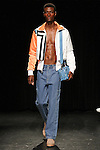 Model Kalib walks runway in an outfit from the Linder Spring Summer 2017 collection by Sam Linder and Kirk Millar on July 11 2016, during New York Fashion Week Men's Spring Summer 2017.
