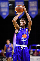 Kerwin Roach of the Wellington Saints shoots the ball during the round two NBL match between the Wellington Saints and the Southland Sharks at TSB Bank Arena, Wellington, New Zealand on Friday 7 May 2021.<br /> Photo by Masanori Udagawa. <br /> www.photowellington.photoshelter.com