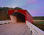 Madison County, IA<br /> Hogback covered bridge (1884) on North River at sunset