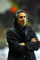 ATTENTION SPORTS PICTURE DESK<br /> Pictured: Paulo Sousa Manager of Swansea City in action <br /> Re: Coca Cola Championship, Swansea City Football Club v Plymouth Argyle at the Liberty Stadium, Swansea, south Wales. Tuesday 08 December 2009