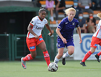 Zulte Waregem's forward Esther Buabadi (L) and Anderlecht's midfielder Charlotte Tison  (R) pictured during a female soccer game between SV Zulte - Waregem and RSC Anderlecht Dames on the second matchday of the 2020 - 2021 season of Belgian Scooore Women s SuperLeague , saturday 5 th of September 2020  in Zulte , Belgium . PHOTO SPORTPIX.BE | SPP | DIRK VUYLSTEKE