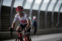 Richie Porte (AUS/Trek-Segafredo) 2 km from the finish in Val thorens<br /> <br /> shortened stage 20: Albertville to Val Thorens (59km in stead of the original 130km due to landslides/bad weather)<br /> 106th Tour de France 2019 (2.UWT)<br /> <br /> ©kramon