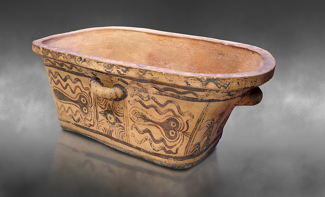 Minoan  pottery bath tub  larnax decorated with stylised octopuses,  Episkopi-Lerapetra 1350-1250 BC, Heraklion Archaeological  Museum, grey background.<br /> <br /> To the Greeks, the Underworld was entered by water. As with many other Minoan bathtubs, this one was probably later used as a coffin to convey the deceased across the sea, where marine imagery would be equally appropriate. The two functions of bathtubs, bathing and burial, combine in the story of Agamemnon who, on return from Troy, was murdered by his wife and her lover in a silver bath.
