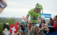 Peter Sagan (SVK/Cannondale) assessing Tom Boonens (BEL/OPQS) position up the final ascent of the Paterberg<br /> <br /> Ronde van Vlaanderen 2014