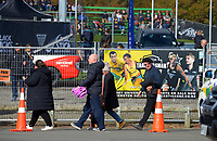 Fans arrive during the Sentinel Homes Trans Tasman Series hockey match between the New Zealand Black Sticks Women and the Australian Hockeyroos at Massey University Hockey Turf in Palmerston North, New Zealand on Sunday, 30 May 2021. Photo: Dave Lintott / lintottphoto.co.nz