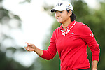 Yani Tseng waves to the crowd on the 8th hole at the LPGA Championship 2014 Sponsored By Wegmans at Monroe Golf Club in Pittsford, New York on August 13, 2014