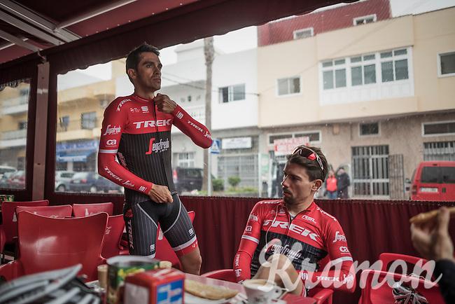 Coffee break at the Team Trek-Segafredo winter training camp with Alberto Contador in Tenerife<br /> <br /> january 2017, Tenerife/Spain
